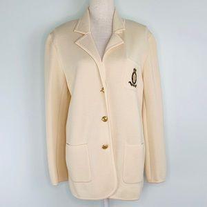 Vintage Ralph Lauren 100% Wool Cream Knit Blazer.